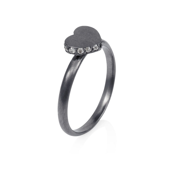 Pettia sterling silver black rhodium plated heart accent ring