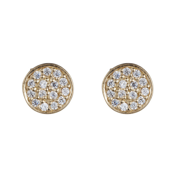 Pettia 18ct gold plated sterling silver circle charm earrings