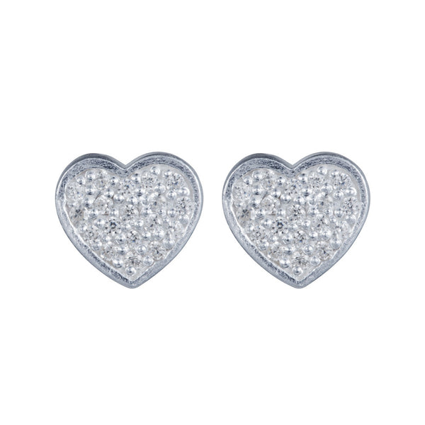 Pettia sterling silver pave detail heart charm earrings