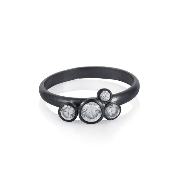 Pettia sterling silver black rhodium plated bubble charm ring