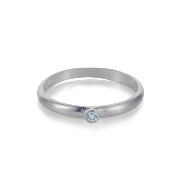Pettia sterling silver petite solitaire stacking charm ring