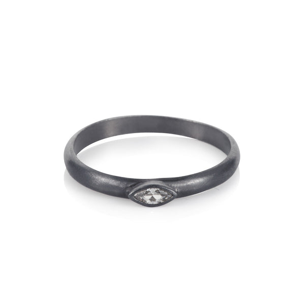 Pettia sterling silver black rhodium plated marquise charm ring
