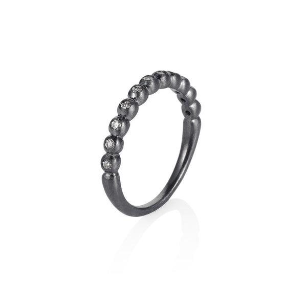 Pettia sterling silver black rhodium plated multi stone band ring