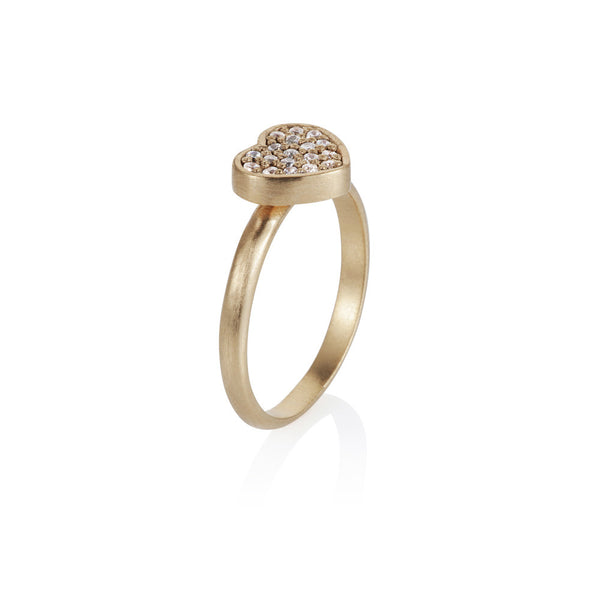 Pettia 18ct gold plated sterling silver heart charm ring