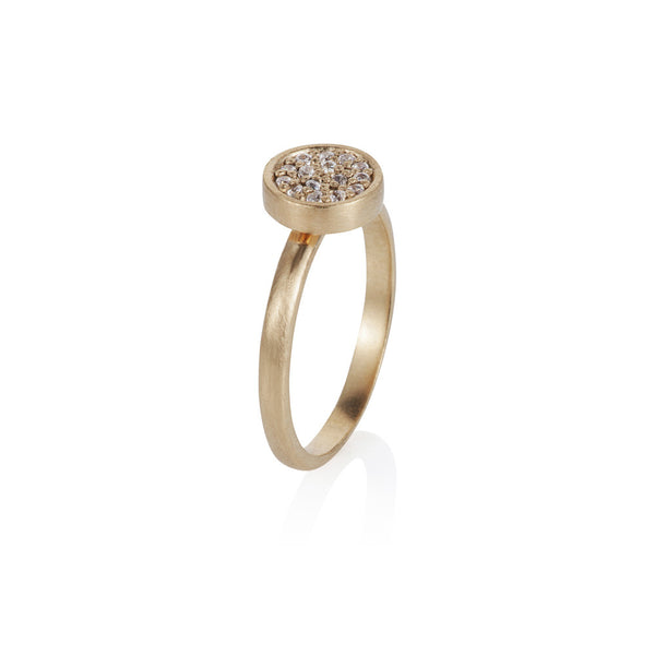 Pettia 18ct gold plated sterling silver circle charm ring