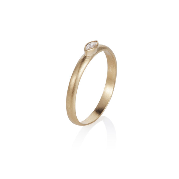 Pettia 18ct gold plated sterling silver marquise charm ring