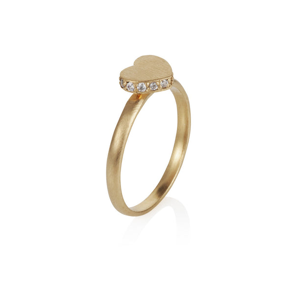 Pettia 18ct gold plated sterling silver heart accent ring