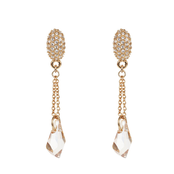 Titania 18ct gold plated SWAROVSKI crystal fancy cut briolette drop earrings