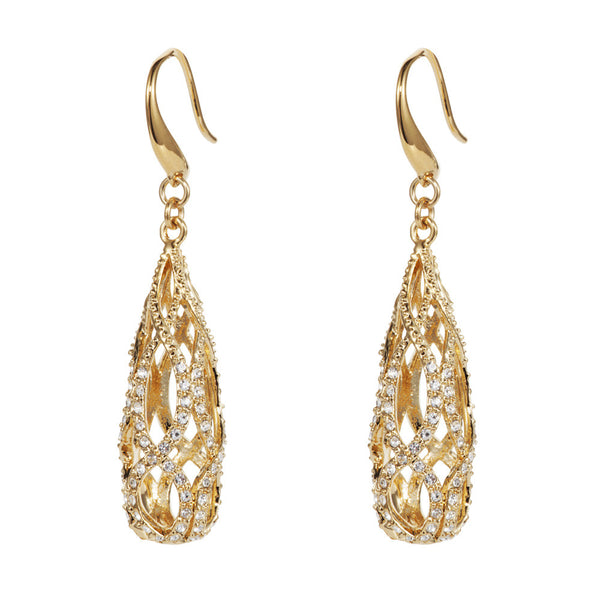 Titania 18ct gold plated SWAROVSKI Crystal filagree detail earrings