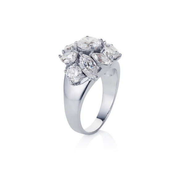 Titania fancy cluster ring
