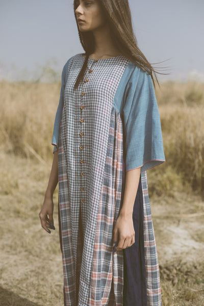 Gingham patched tunic