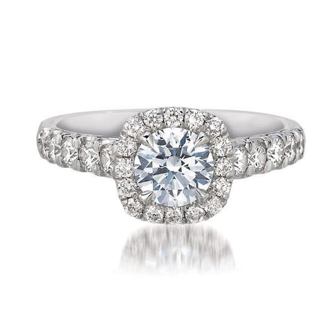 FOREVERMARK™  Cushion Halo Ring - G Finger Size, 18ct-white-gold Metal, 0.5 Ct Diamond (86304396)