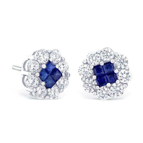 BLUE SAPPHIRE & DIAMOND CLUSTER STUD EARRINGS