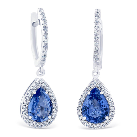 PEAR HALO SAPPHIRE DROP EARRINGS