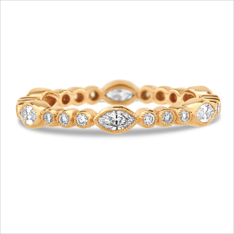 Beverley K Marquise and Round Diamond Band