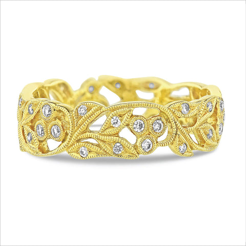 Beverley K Vintage Leaf Diamond Band