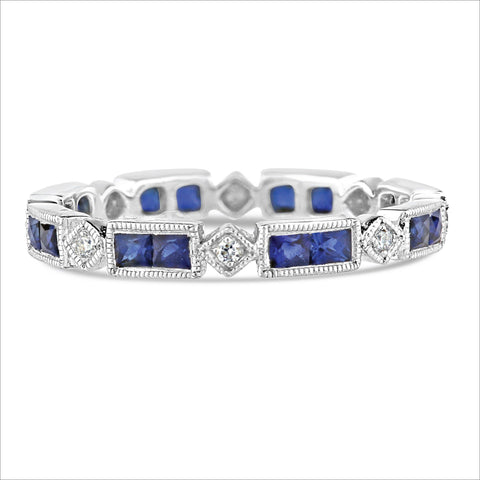 Beverley K Rectangular and Square Sapphire and Diamond Band