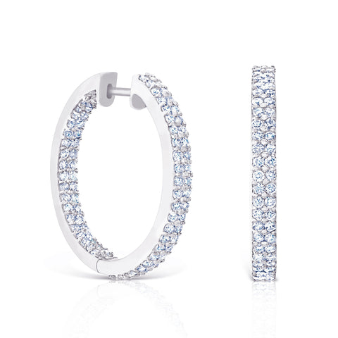 Pave Medium Hoops