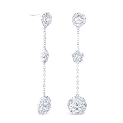 ROUND HALO & CLUSTER DROP EARRINGS