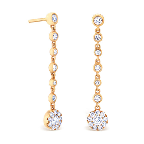BEZEL & CLUSTER DROP EARRINGS 18K ROSE GOLD