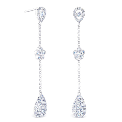 PEAR HALO & ROUND CLUSTER DROP EARRINGS