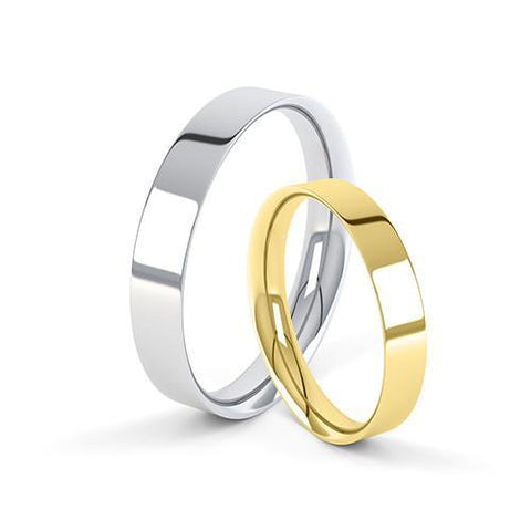 Flat Court Profile Wedding Ring - O Finger Size, 18ct-yellow-gold Metal, 4 Width