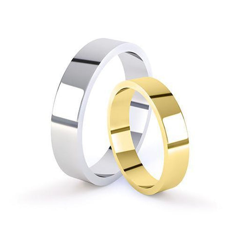 Plain Flat Profile Wedding Ring - 18ct-White-Gold Metal, 3.5 Width