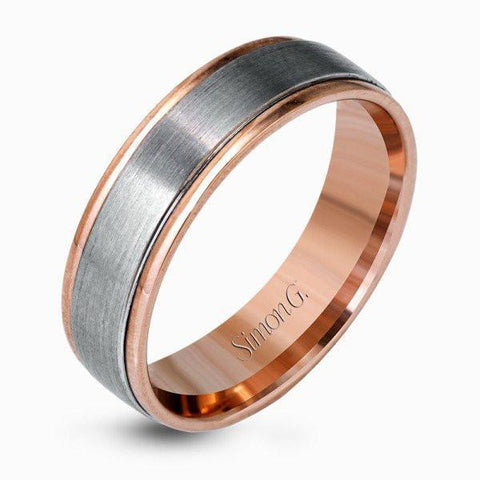 Simon G - Mens Band - LG142 - M Finger Size, 18ct-rose-gold Metal, 6 Width