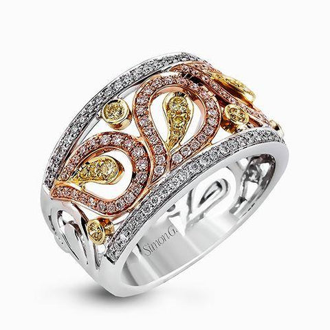 Simon G LB2060 Rose white and yellow drerss ring yellow diamonds