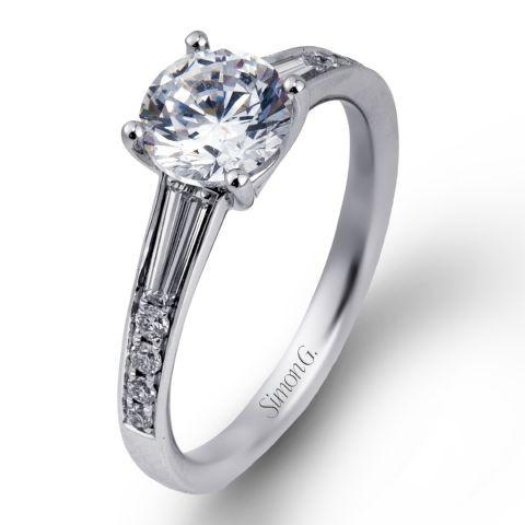 Simon G MR2220 Classic Modern baguette cut diamond shoulders