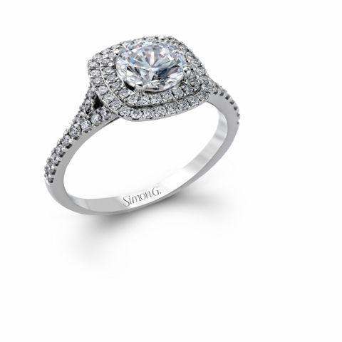 Simon G MR2459 Cushion style double halo split band - I Finger Size, platinum Metal, 0.4 Ct Diamond (69712749)
