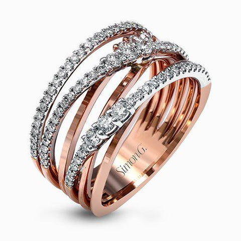 Diamond Rose Gold Cocktail Dress Ring