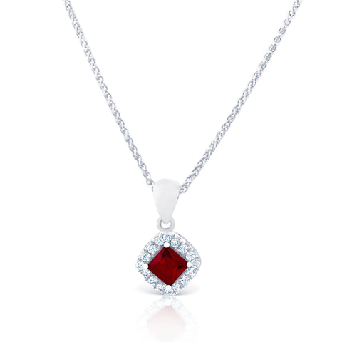 Diamond & Ruby Halo Pendant £1250