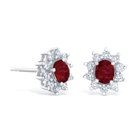 RUBY & DIAMOND CLUSTER STUD EARRINGS