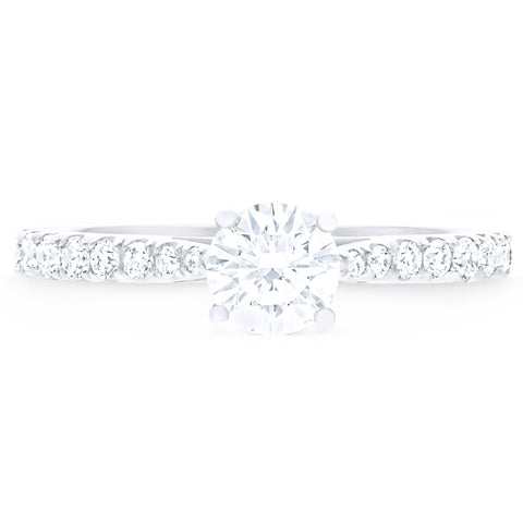 FOREVERMARK™ SOLITAIRE PAVE RING
