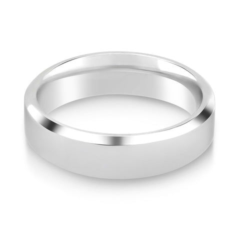 Court Shaped Bevelled Edge Wedding Ring - G Finger Size, palladium Metal, 2 Width
