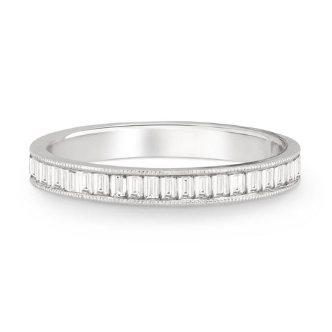 CHANNEL SET BAGUETTE DIAMOND BAND WITH MILGRAIN