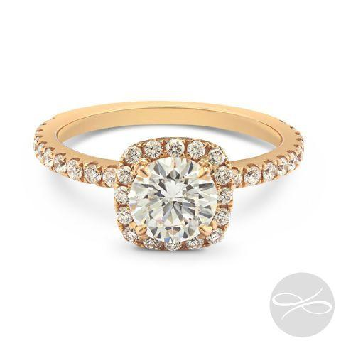 Bora Bora Rose Gold Cushion - H Finger Size, 18ct-yellow-gold Metal, 0.3 Ct Diamond (113787282)