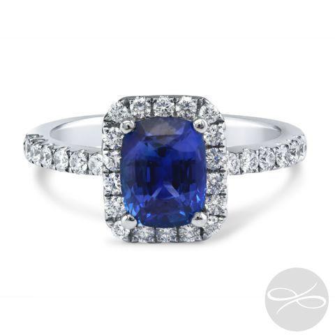Diamond Palace Sapphire Cushion Halo