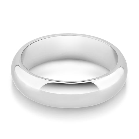 Plain D Profile Wedding Ring - Platinum Metal, 6 Width