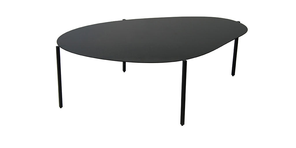 Black coffee table with organic shape inspired by river stones