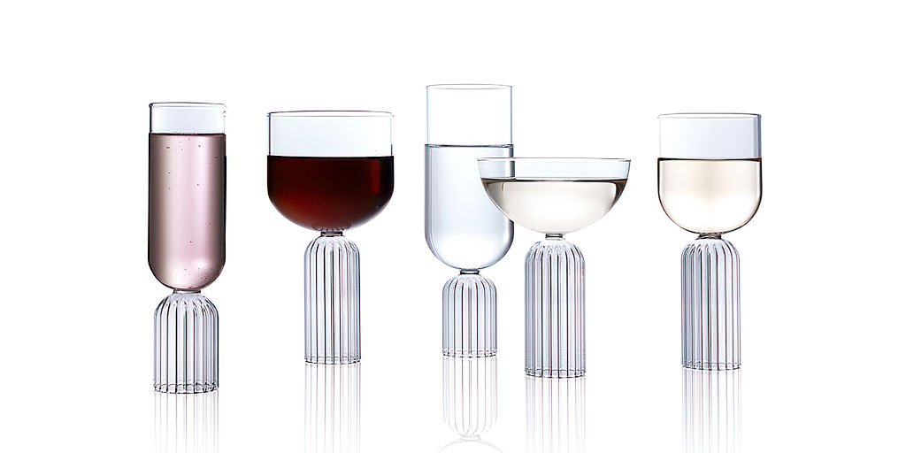 Designer glassware by Felicia Ferrone, the May Collection.