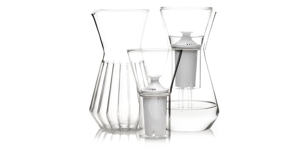Glass water filter carafe named Cleverest Designs of 2018 by Architectural Digest.