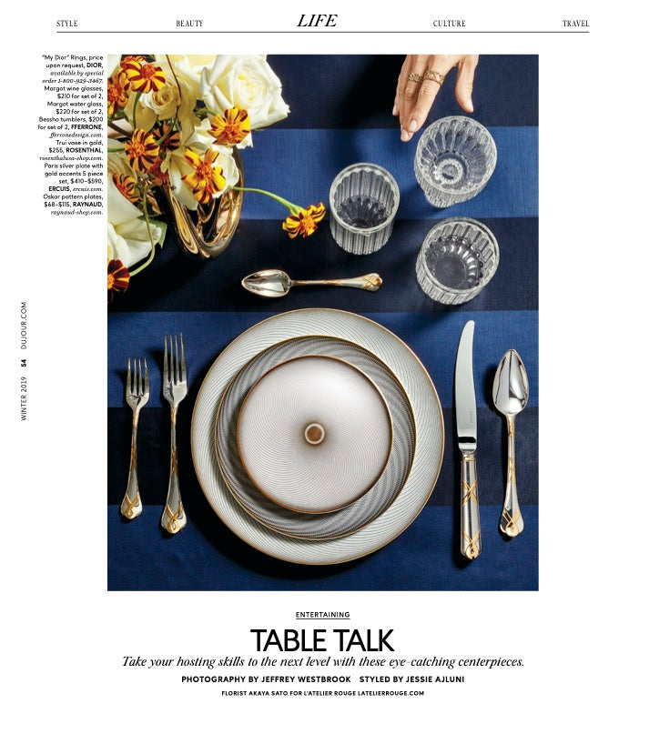 Margot and Bessho luxury drinking glasses in DuJour magazine