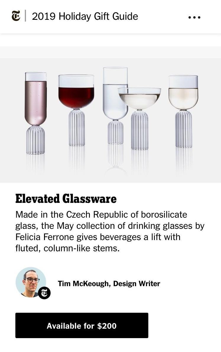 Elevated Glassware - May Collection New York Times