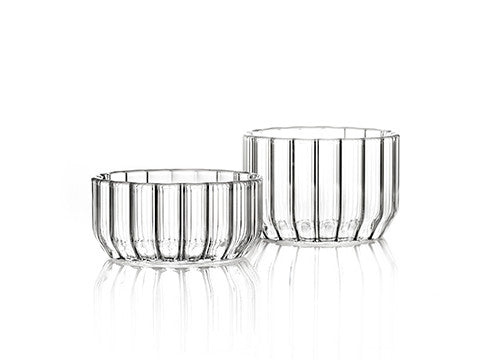 Designer glass bowls in fluted glass by Felicia Ferrone.