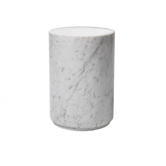 Carrera marble side table made in Italy.