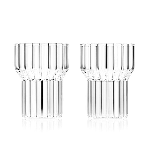Clear fluted glass by contemporary designer, handmade in the Czech Republic.
