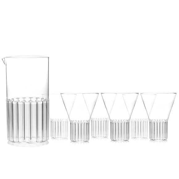 Designer glassware set for the contemporary kitchen that includes one carafe and six glasses.