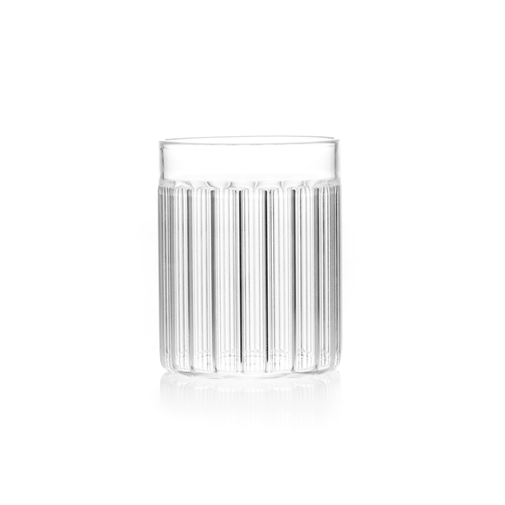 Fluted, designer tumbler glass for contemporary kitchen.